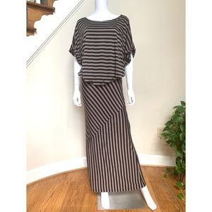 Brown and black striped maxi skirt and top set